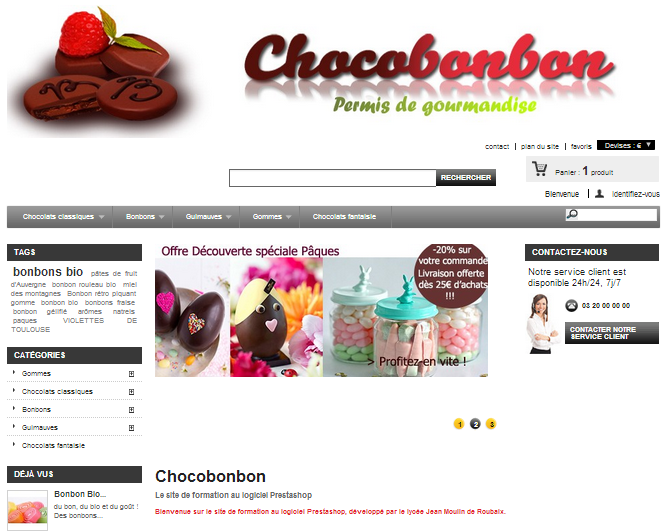 cours de webmarketing - site ecole Prestashop